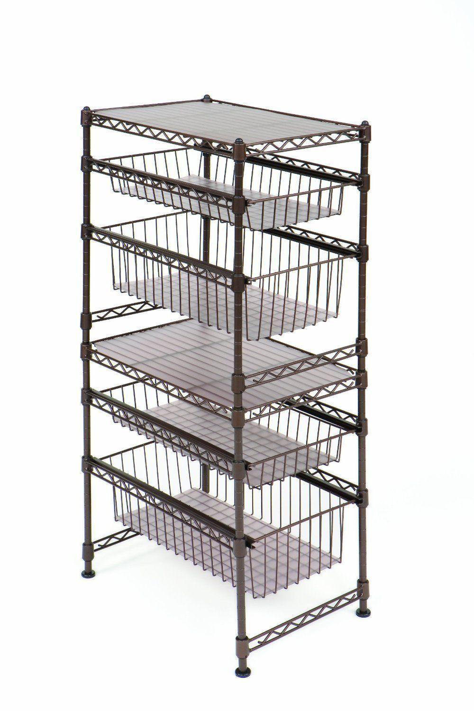 Sliding Drawer Rack Shelf Steel Wire Cabinet Stackable