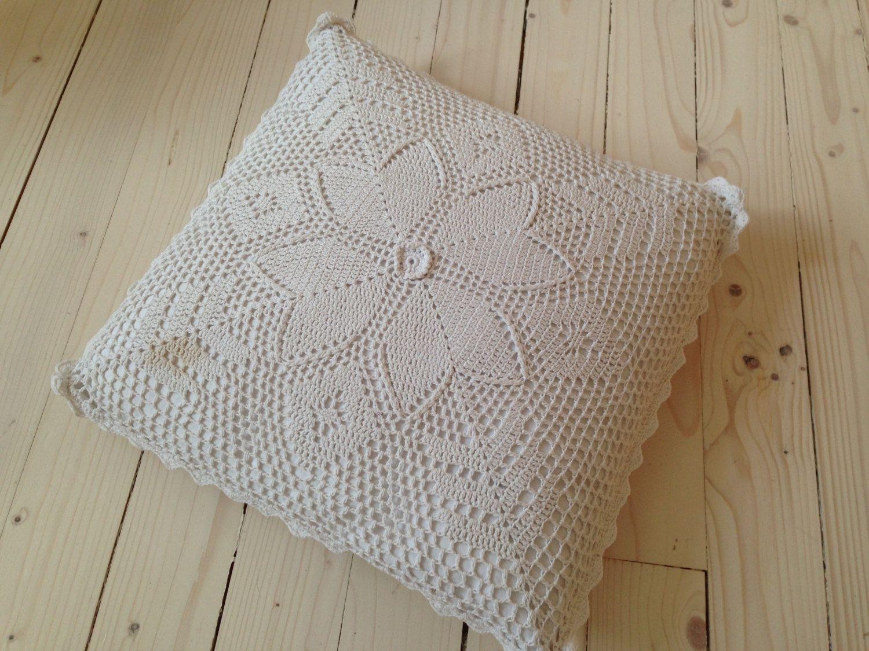 Vintage crochet pillow case White lace cushion Crochet throw pillow ...