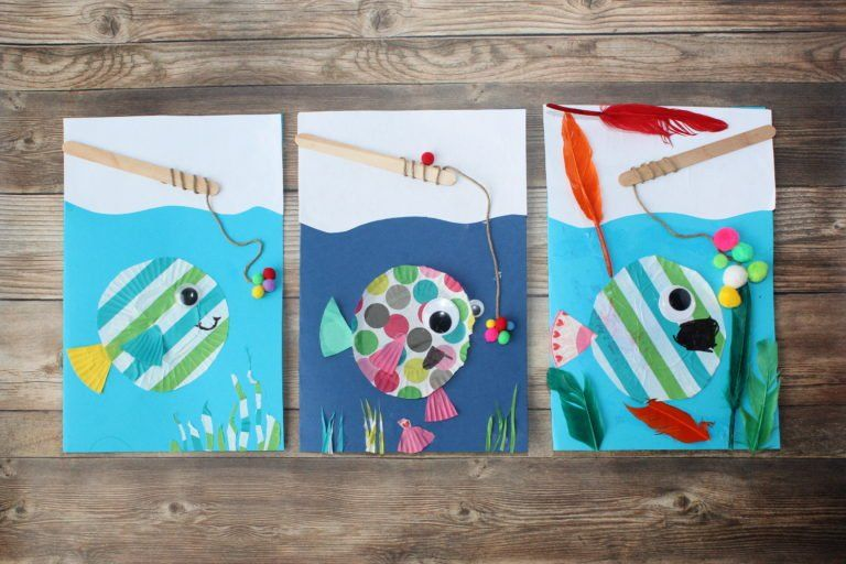 cute diy father's day card  fish cupcake liner craft