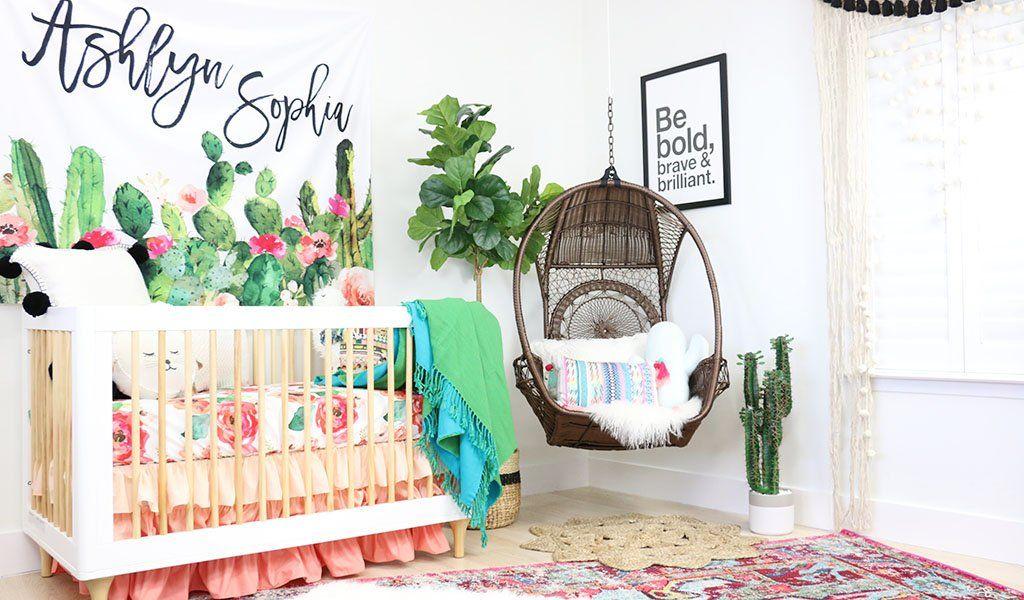 A Modern Boho Cactus Nursery Baby Girl Nursery Decor Baby Room Decor Boho Nursery Girl