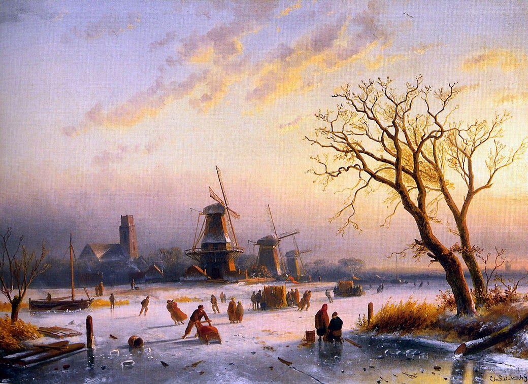Charles Leickert Romantic Landscape Painter Landscape Winter Landscape Dutch Painters