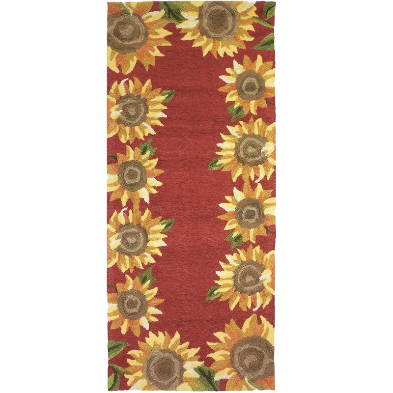 Valois Floral Hand Hooked Red Yellow Indoor Outdoor Area Rug Outdoor Area Rugs Indoor Outdoor Area Rugs Area Rugs