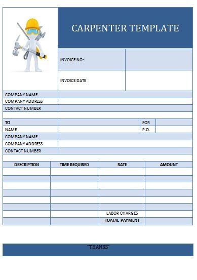 carpenter invoice template word  CARPENTER TEMPLATE-3 | Carpenter Invoice Templates | Pinterest ...