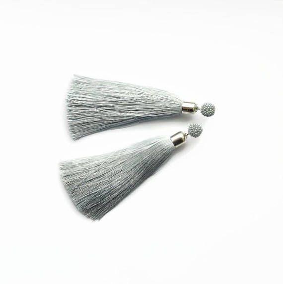 Silk Tassel earrings Gray earrings fringe Boho earrings gift