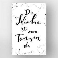 Die Kuche Ist Zum Tanzen Da Handlettering Von Gelbkariert Uber Artboxone Spruch Kuche Wandbild Kuche Tanzen