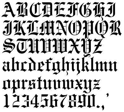 Old Tattoo Font Calligraphie Gothique Lettres Gothiques Alphabet Cursif