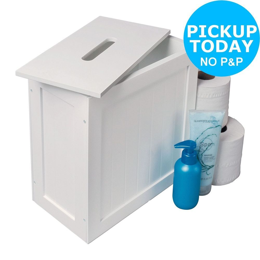 Argos Home Slimline Shaker Unit With Lid White Ebay Bathroom Storage Boxes White Bathroom Shelves Argos Home