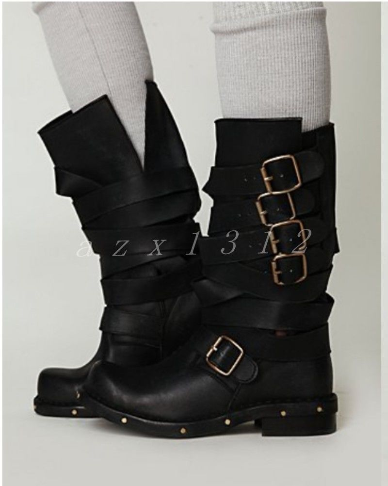 Womens Shoes Cowhide Fall//Winter Comfort//Fashion Boots Boots Chunky Heel Mid-Calf Boots Black//Brown