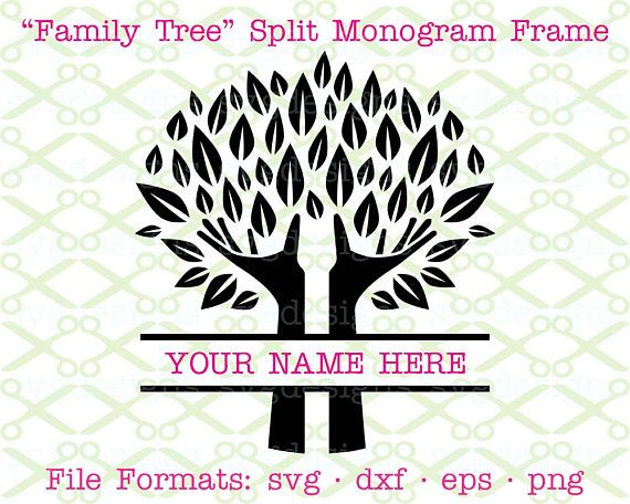 Family Tree SVG Split Monogram Frame SVG Dxf Eps \ Png SVG - home office arbeitnehmer arbeitgeber