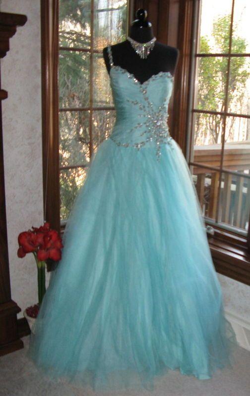 Terani P156 Tiffany Blue Pageant Prom Ball Gown Dress 8 | Tiffany ...