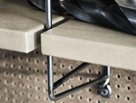 close up - String Pocket Raw Metal Shelving