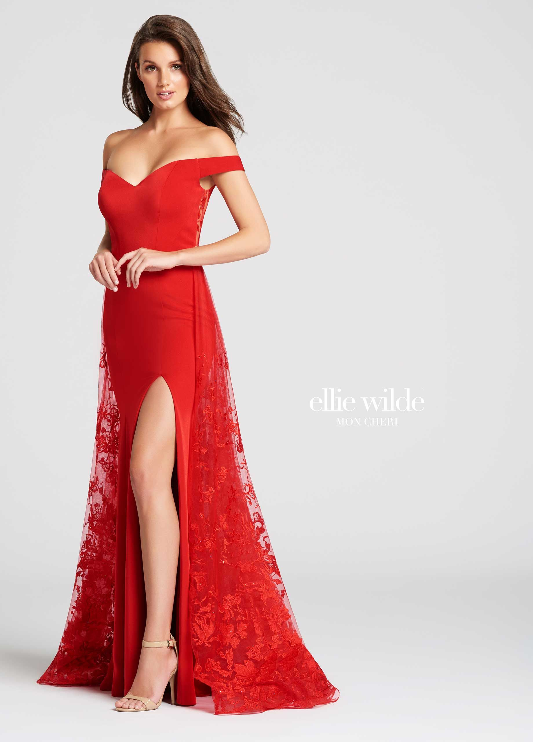 e026887ef76 Ellie Wilde EW118023 - Off the shoulder stretch crepe