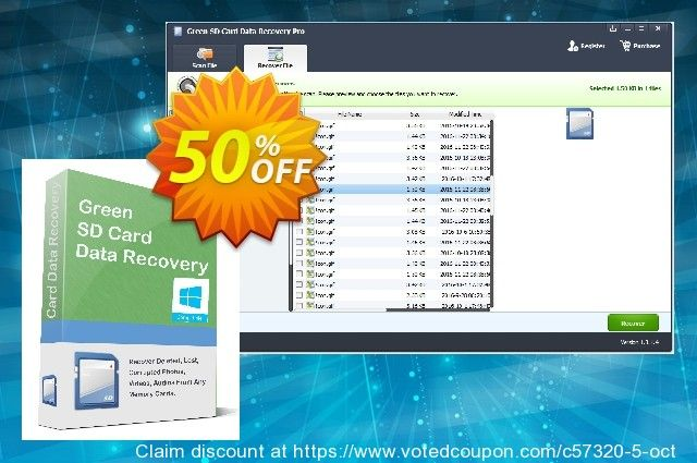 Green SD Card Data Recovery 1 Year License Coupon 25