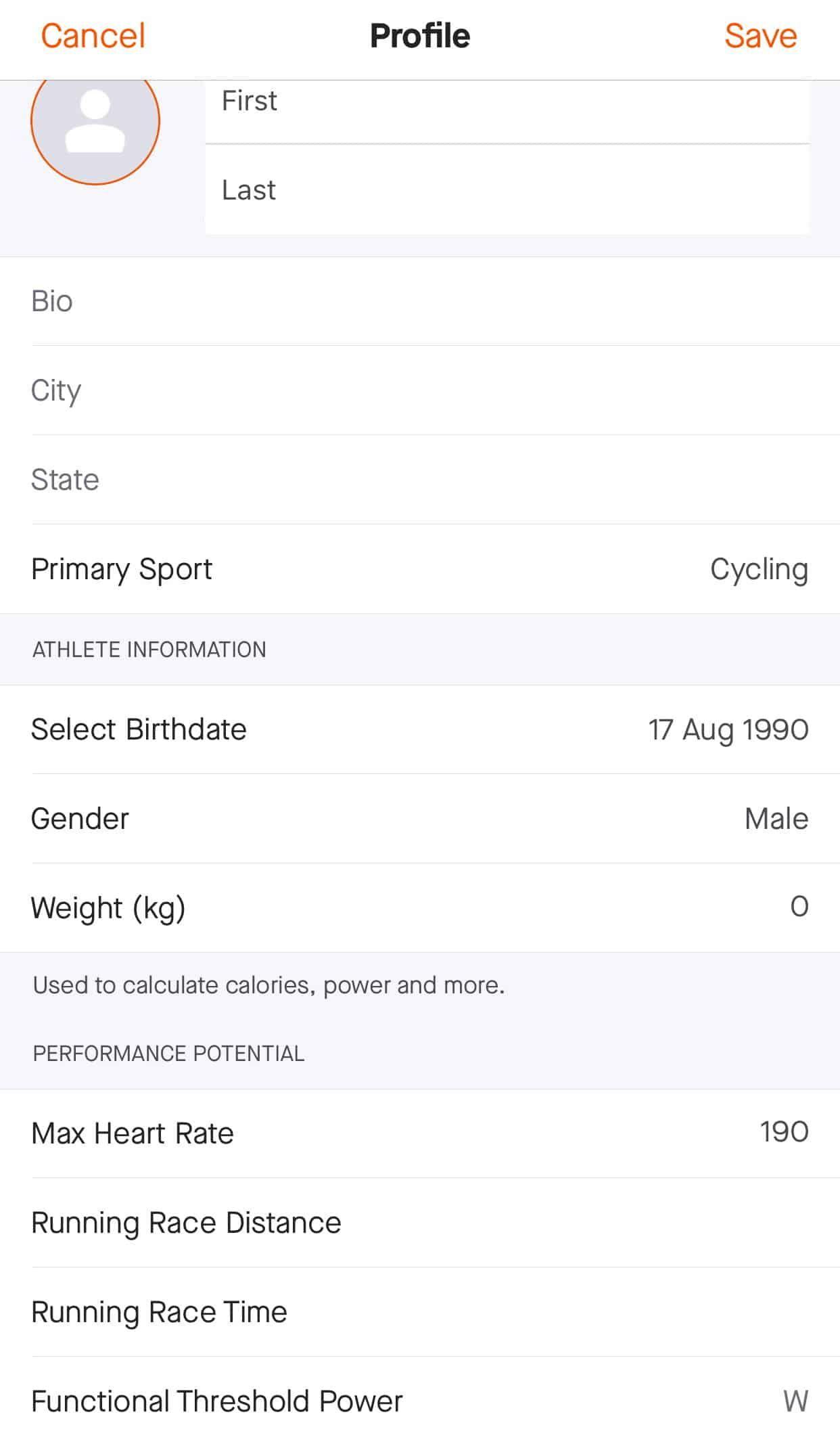Pengaturan Profile Dan Informasi Kekuatan Berlari Atlet Media Sosial