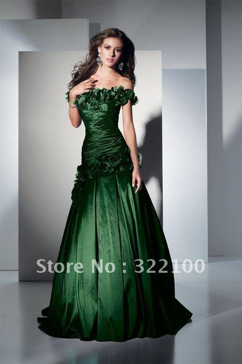 KW9980 elegant designer off shoulder taffeta dark green fishtail ...