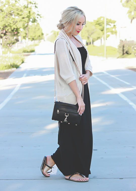Black maxi, cardigan, red lipstick #ootd #fashion | Fashion ...
