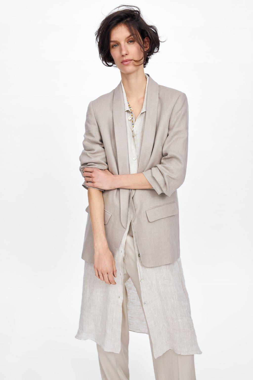 chaqueta mujer zara lino zara lino chaqueta nk0wOP