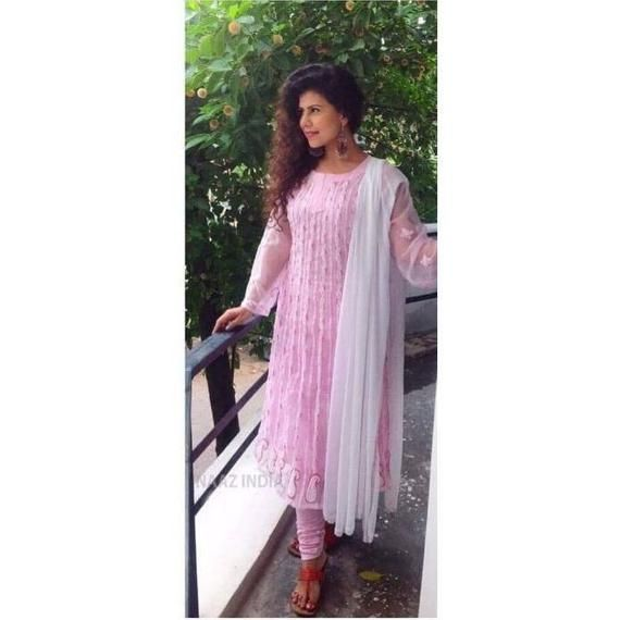 This is a DESIGNER Georgette anarkali kurti with all over CHIKANKARI Hand embroidery. It has a length of 46 inches and it took 45 days for the craftsman to hand embroider this piece.********LEAVE A NOTE OF THE REQUIRED SIZE IN THE COMMENT SECTION WHILE PLACING AN ORDER. THANK YOU.All the processes involved in manufacturing of our goods are completely handmade hence each piece may vary slightly from the other one embroidery block may differ slightly . Please appreciate the sheer hardwork of our k