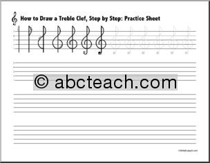 trace treble clef worksheet - Google Search   preliminary music ...