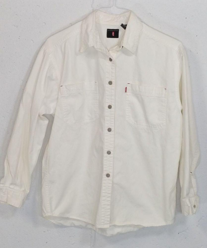 3579e577346 Levis Mens White Denim 100% Cotton Long Sleeve Button Down Shirt Medium M   Levis  ButtonFront