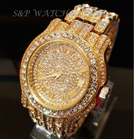 Men Hip Hop Iced Out Gold Tone Techno Pave Bling Simulated Diamond Rapper Watch Mens Jewelry