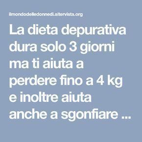 dieta 4 kg in 3 giorni pierderea în greutate hd