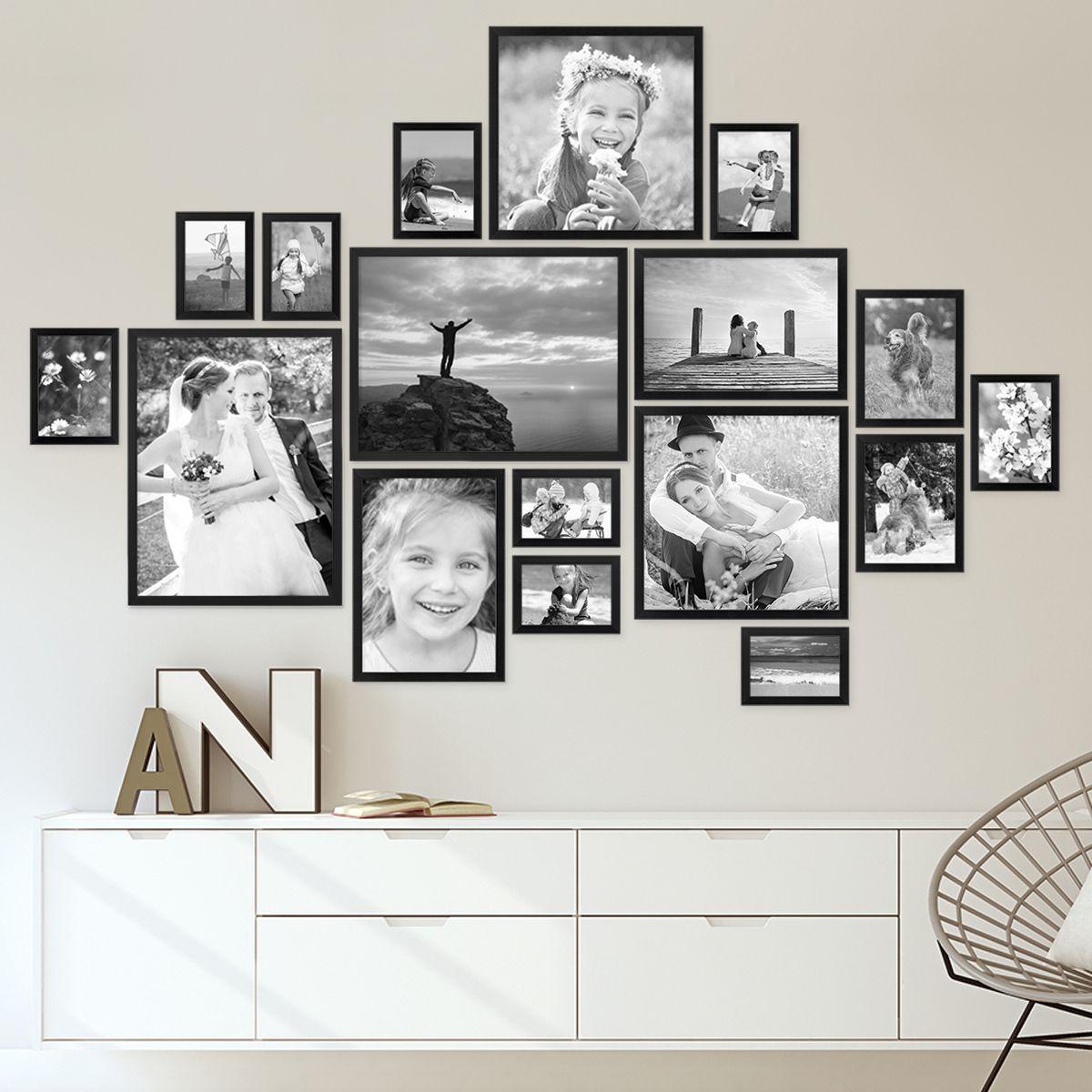 17er Bilderrahmen-Set Modern Schwarz aus MDF 10x15 bis 30x40 cm / Bildergalerie / Bilderwand #collagewalls