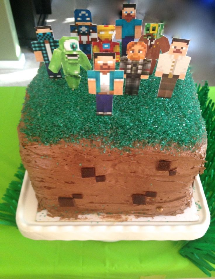 2014 Diy Minecraft Sword Cake With Green Sprinkles