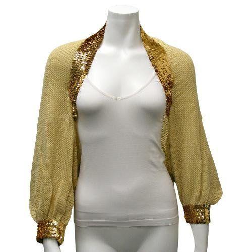 Golden Tan Sequin Trimmed Knit Shrug Sweater Luxury Divas. $29.99 ...
