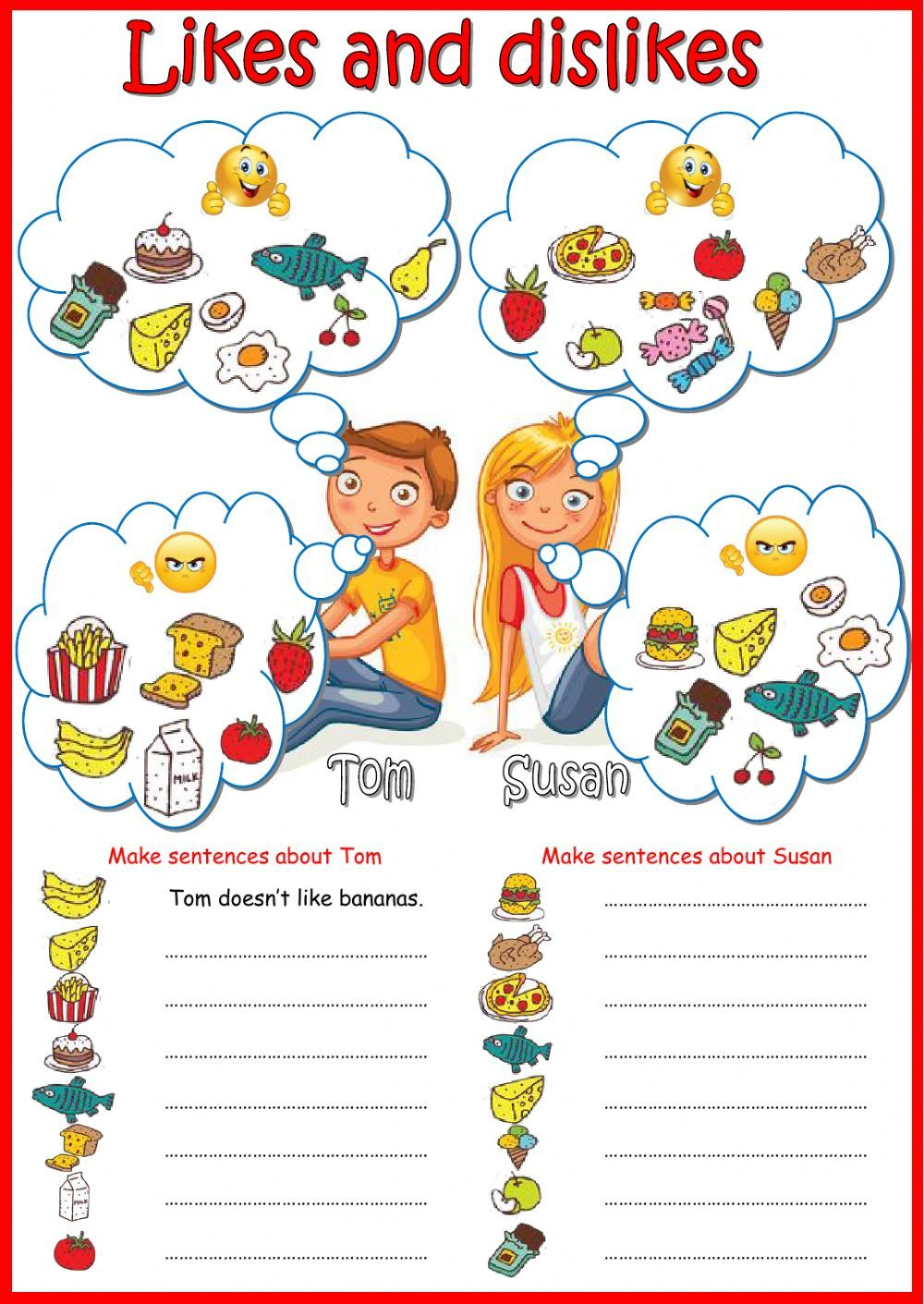 Likes and dislikes interactive and downloadable worksheet