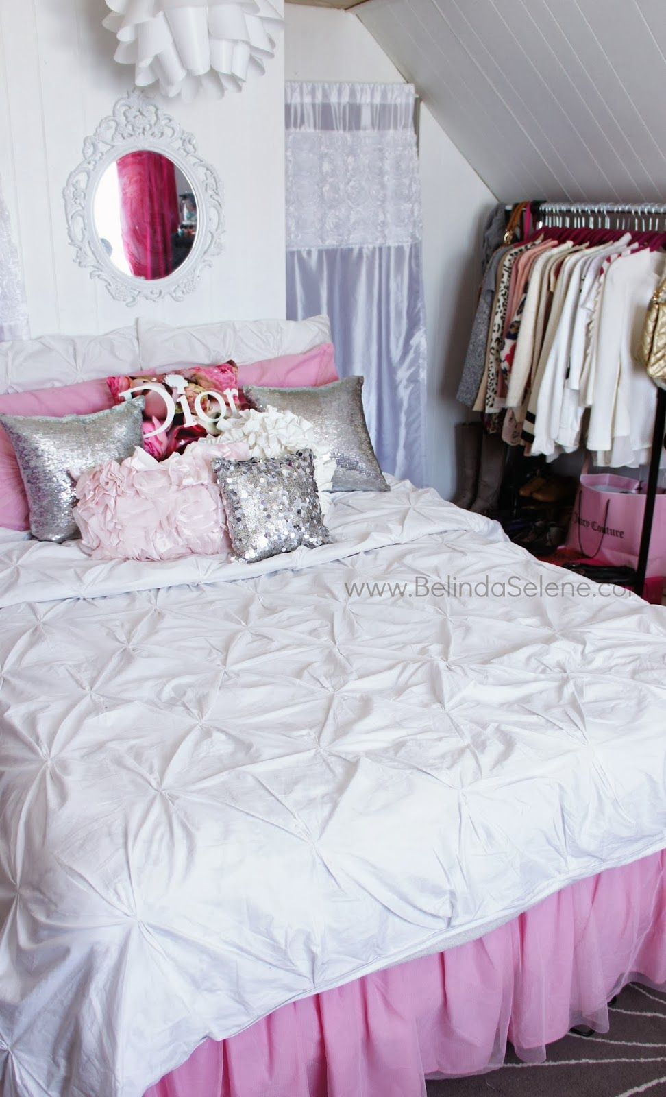 Modern Shabby Chic Room Tour! Pink and White room ...