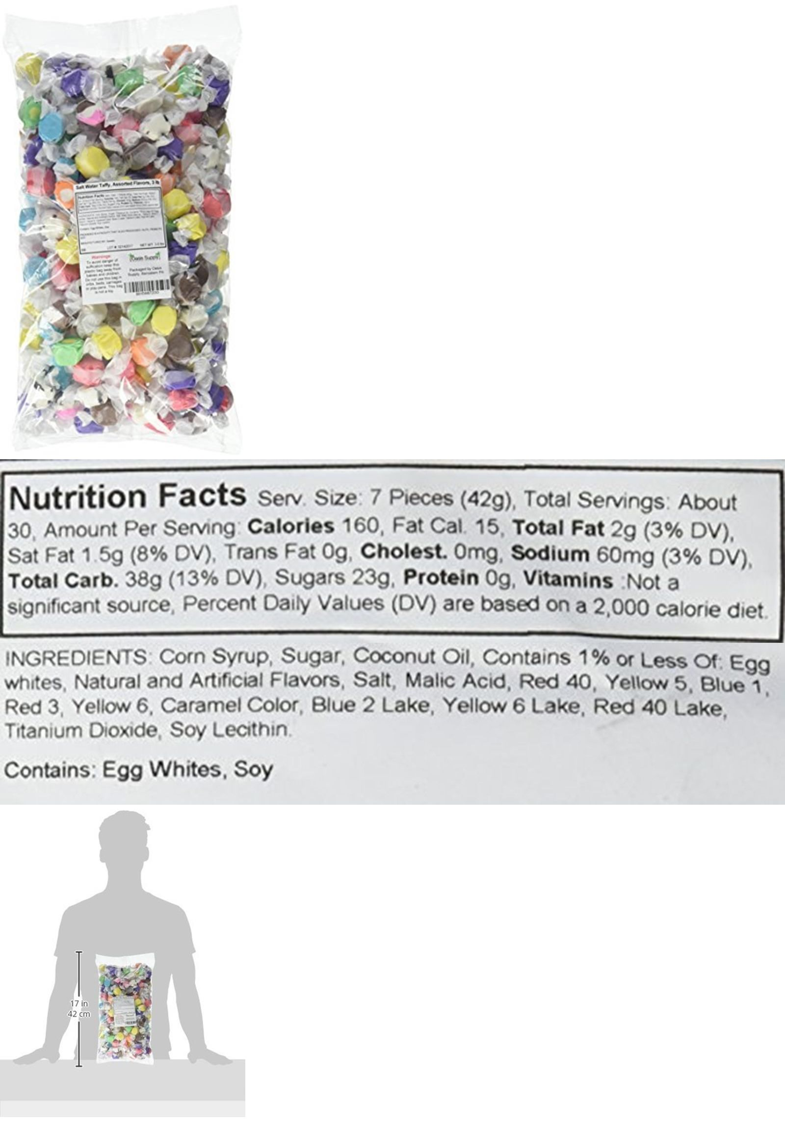 Sweets Salt Water Taffy Assorted Flavors 3 Pound Salt Water Taffy Chewy Candy Flavors