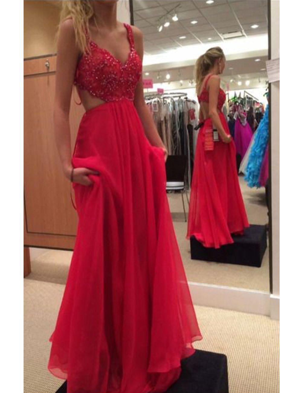 Red Prom Dress,Beaded Prom Dress,Backless Prom Dress,Fashion Prom ...