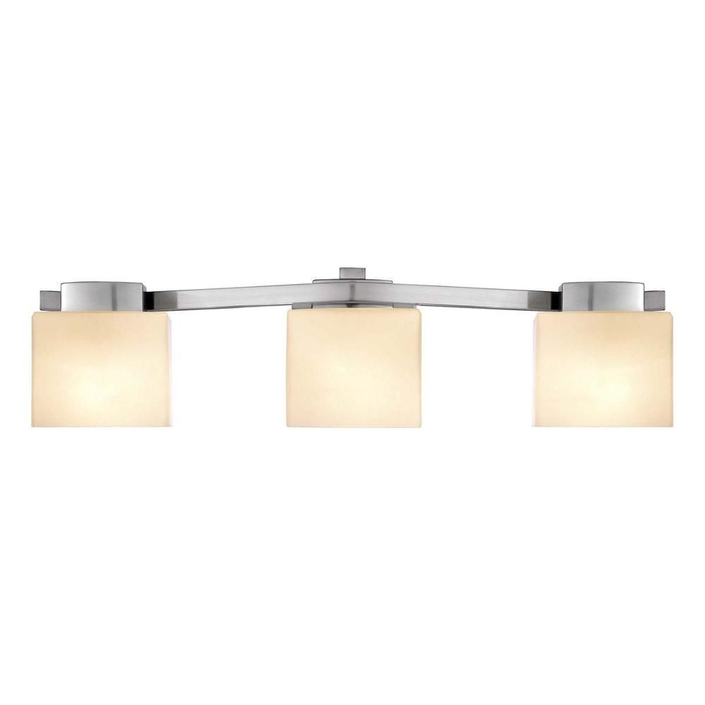 Hampton Bay 3Light Brushed Nickel Bath Light  Bath Light Glamorous Home Depot Bathroom Light Fixtures 2018