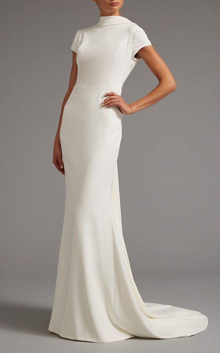High Neck Cap Sleeve Gown With Open Back | itakeyou.co.uk #weddingdress #weddingdesses #weddinggown #bridalgown