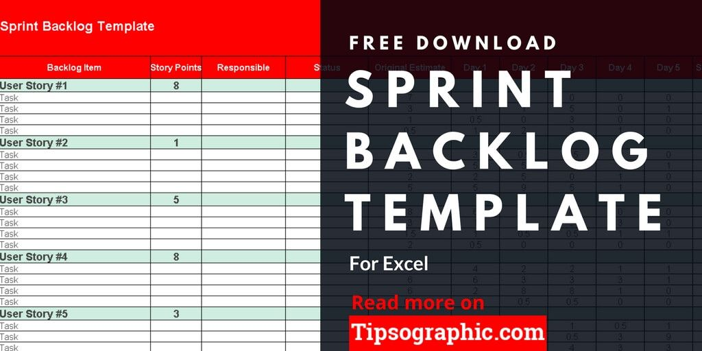 Sprint Backlog Template for Excel, Free Download Project