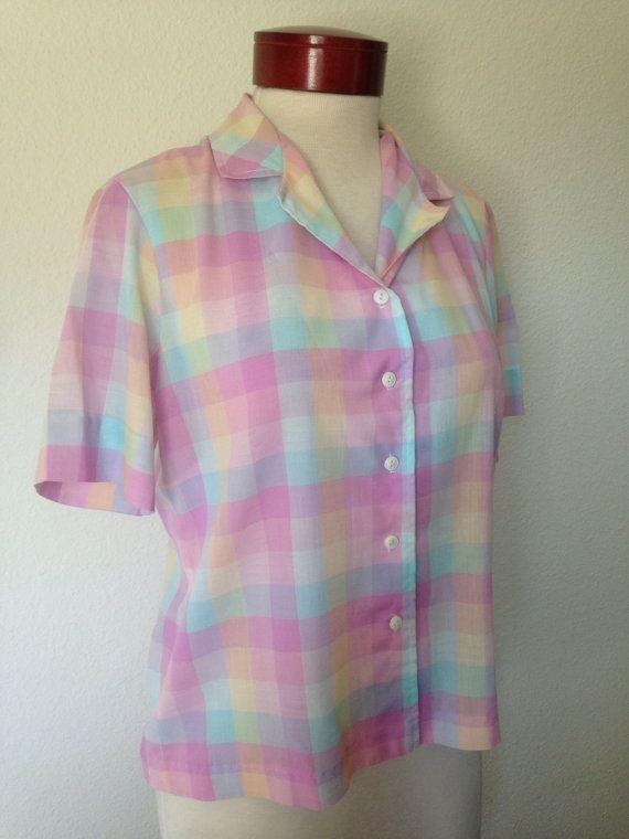 86a236ed6843e6 1980s vintage pastel plaid blouse, Devon Petite Concepts, pink peach melon  lavender, 80s boxy top, size M medium blouse, retro pink blouse M