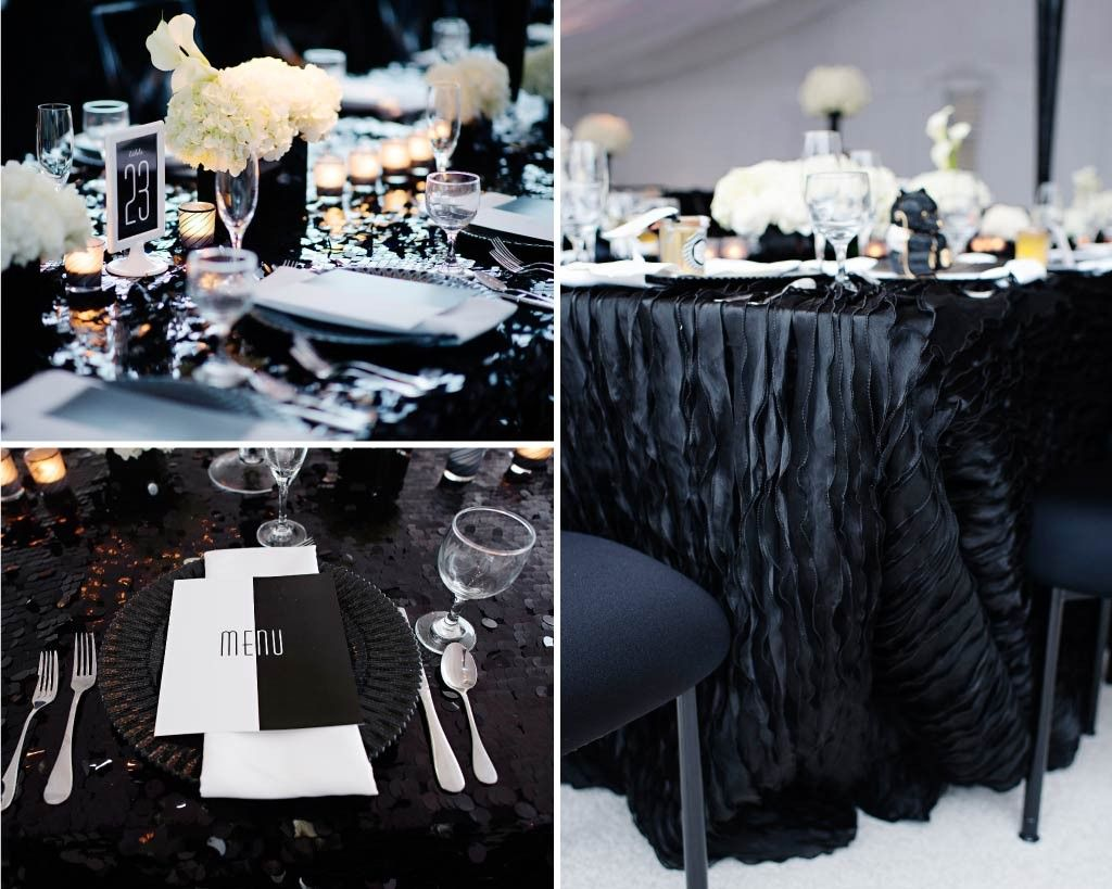 Tavolo Reception ~ Black and white tented wedding guest reception tables dressed in