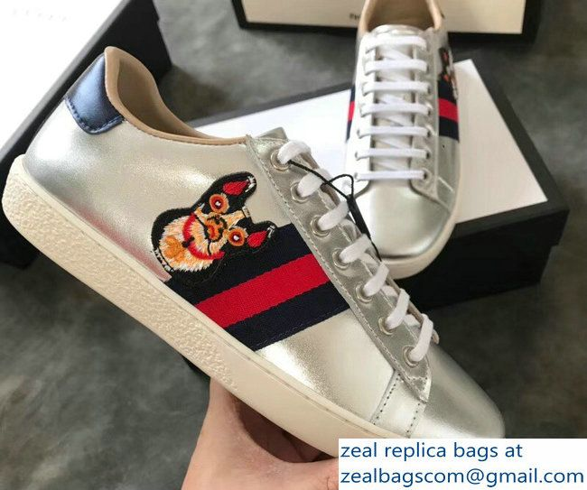 1afa5736296 Gucci Ace Leather Low-Top Lovers Sneakers Web Embroidered Boston Terrier  Bosco Silver 2018 2803115331