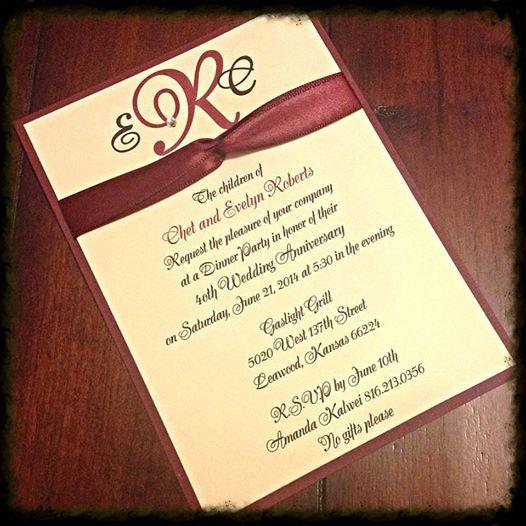 40th Wedding Anniversary Quotes: 40th Ruby Wedding Anniversary Invitation