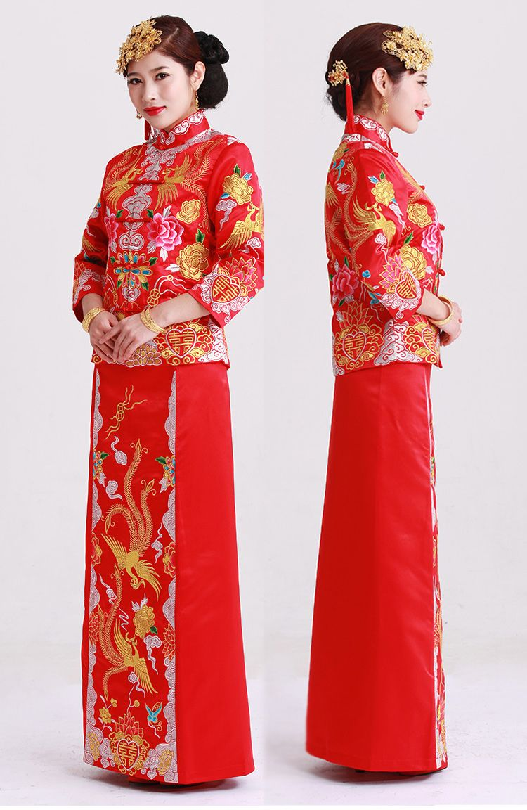 Embroider Phoenix and Peony pattern wedding dress, red chinese ...
