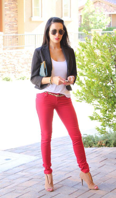 Red skinny jeans, white tee, black blazer, tan peep toe ankle ...