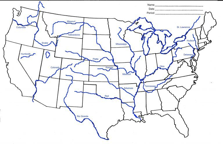 Colorado River On Map Of Us Usa River Map Best Unlabeled Map ...