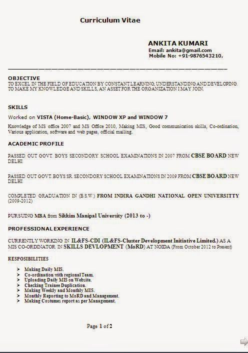 Download Model Cv Sample Template Example Ofexcellent Curriculum