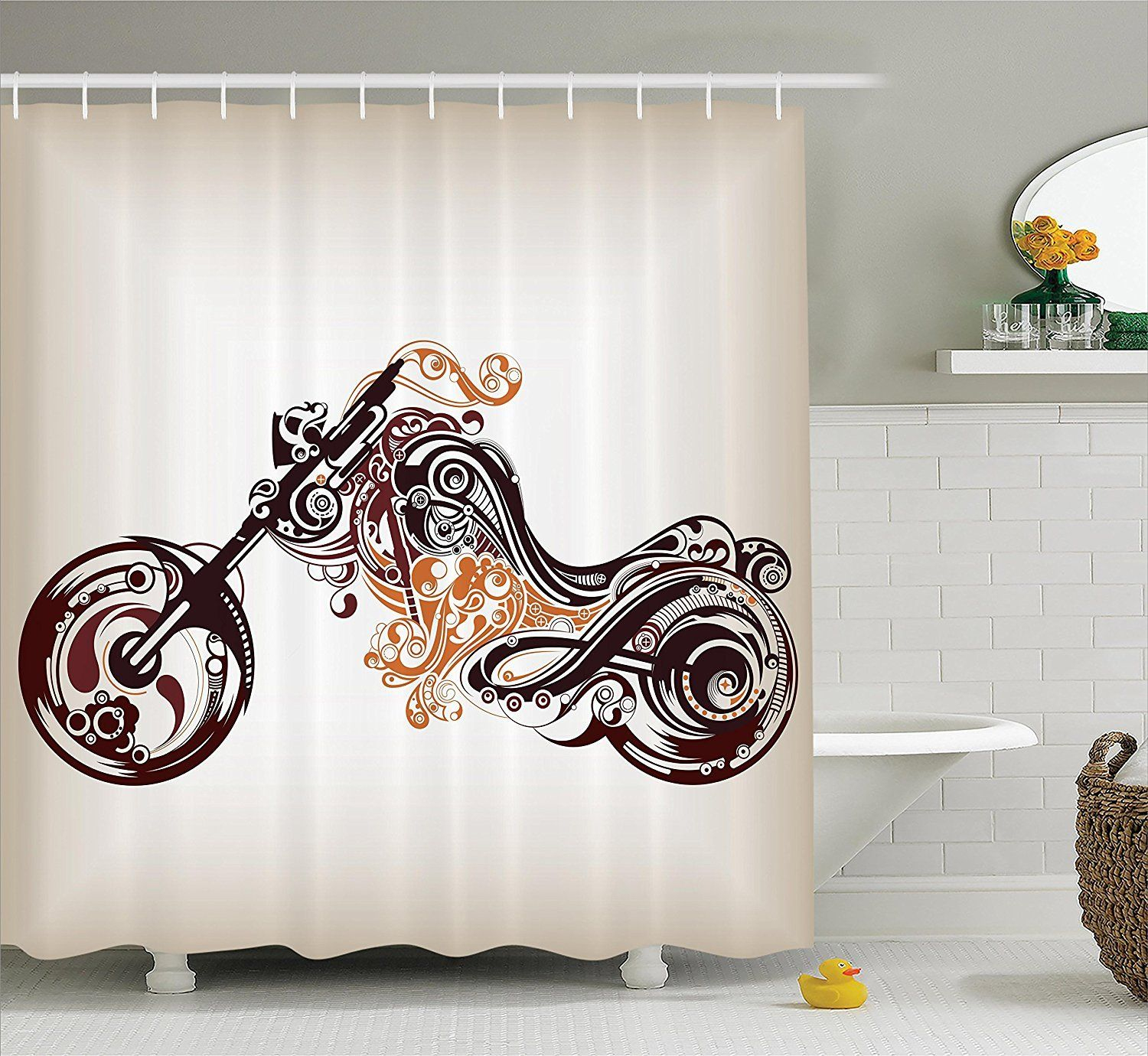 Motorcycle Chopper Shower Curtain Shower Curtain Decor Bathroom Accessories Bathroom Interior Design