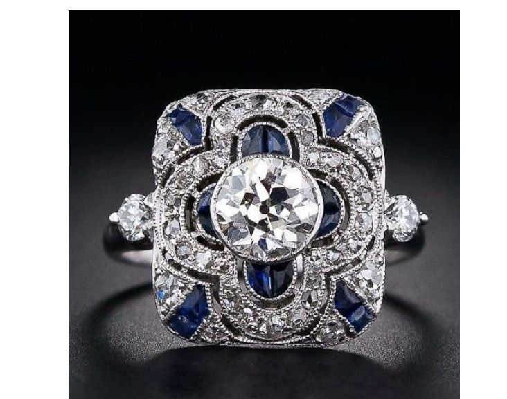 Antique Art Deco Large 925 Jewelry Sterling Silver Blue Sapphire Ring W6-140 c5ab6a666231