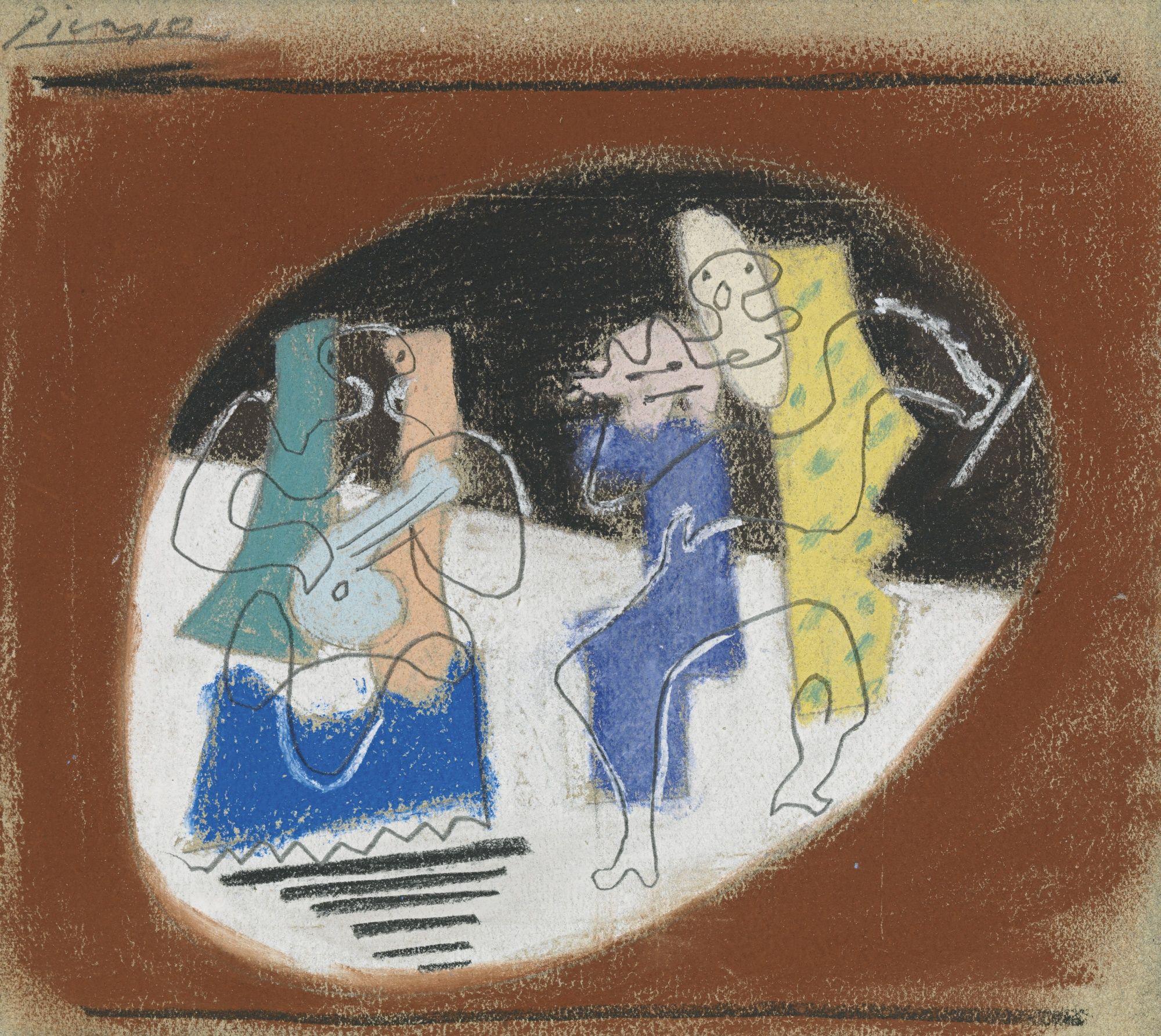 Picasso. Pablo - MERCURE: ÉTUDE POUR LE RIDEAU DE SCÈNE. 1924 Pastel and pencil on paper.7 7/8 by 8 3/4 in.20 by 22.2 cm.