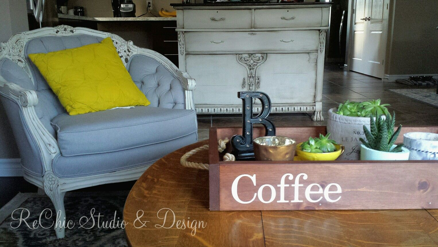 Reupholstered French Provincial chair ~ repurposed sideboard into ...