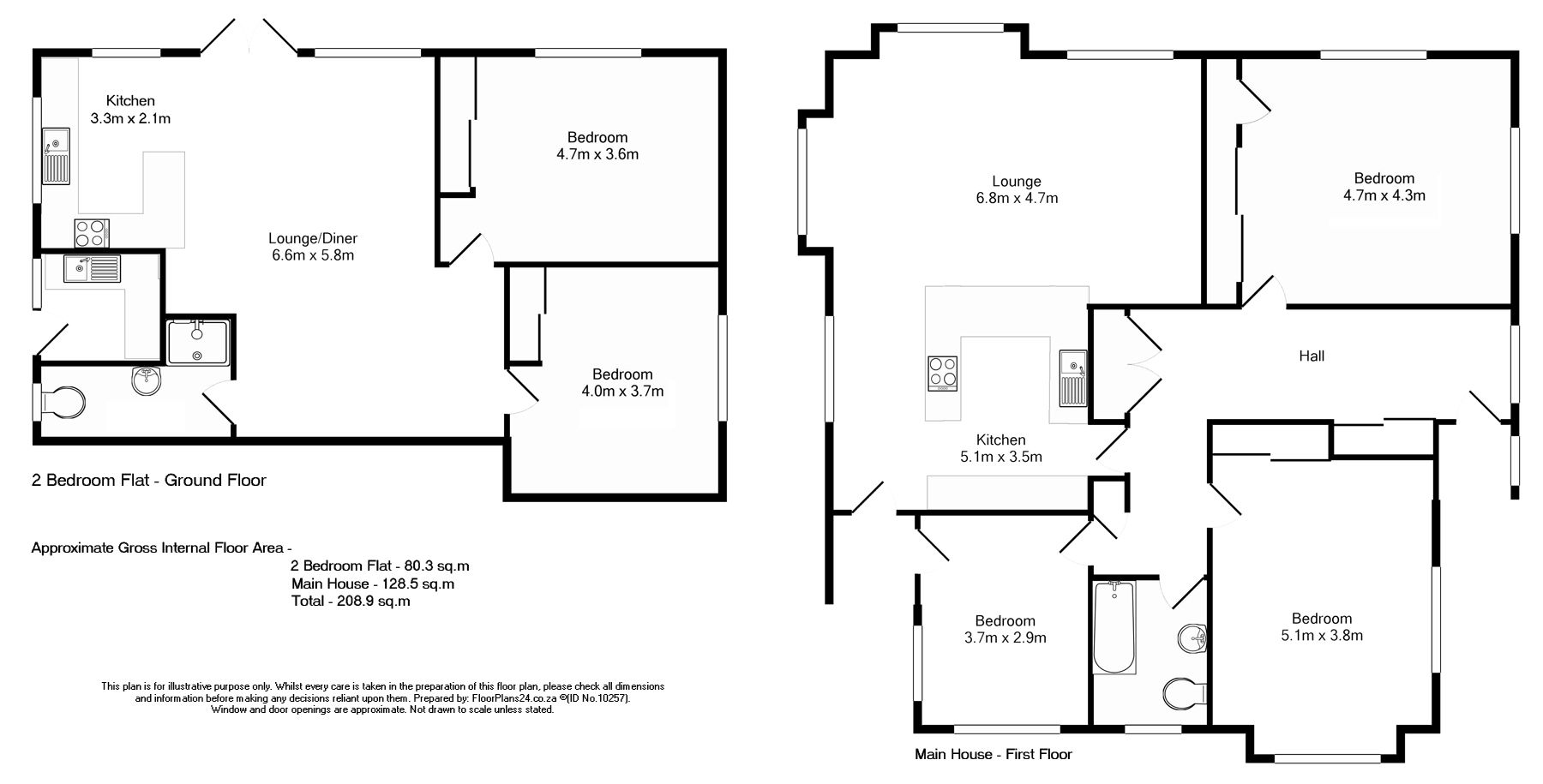 Classic Layout 3 Bedroom House With Separate Self Contained 2 Bedroom Flat 208 Sq M Floorplans24 Delivers A Solution That Maine House Layout Floor Plans