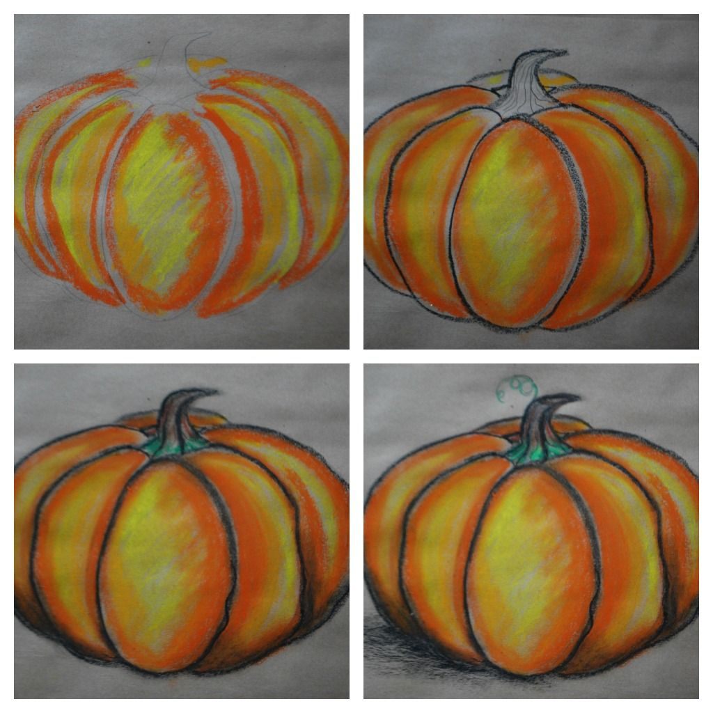 Drawing Pumpkins 101 | Tizas pastel | Pinterest | Calabazas ...